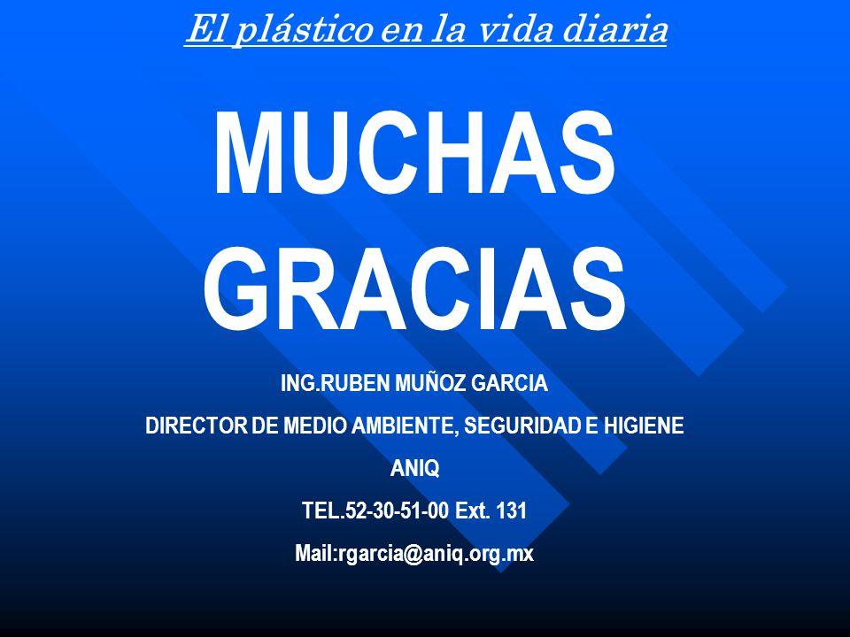 MUCHAS GRACIAS ING.RUBEN MUÑOZ GARCIA DIRECTOR DE MEDIO AMBIENTE, SEGURIDAD E HIGIENE ANIQ TEL.52-30-51-00 Ext. 131 Mail:rgarcia@aniq.org.mx El plásti