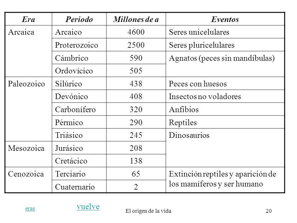 eras El origen de la vida20 EraPeriodoMillones de aEventos ArcaicaArcaico4600Seres unicelulares Proterozoico2500Seres pluricelulares Cámbrico590Agnato