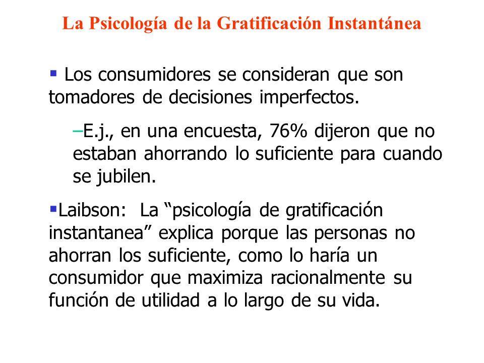 La Psicología de la Gratificación Instantánea Los consumidores se consideran que son tomadores de decisiones imperfectos. –E.j., en una encuesta, 76%