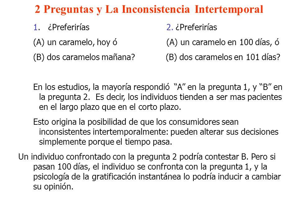 2 Preguntas y La Inconsistencia Intertemporal 1.¿Preferirías 2. ¿Preferirías (A) un caramelo, hoy ó (A) un caramelo en 100 días, ó (B) dos caramelos m