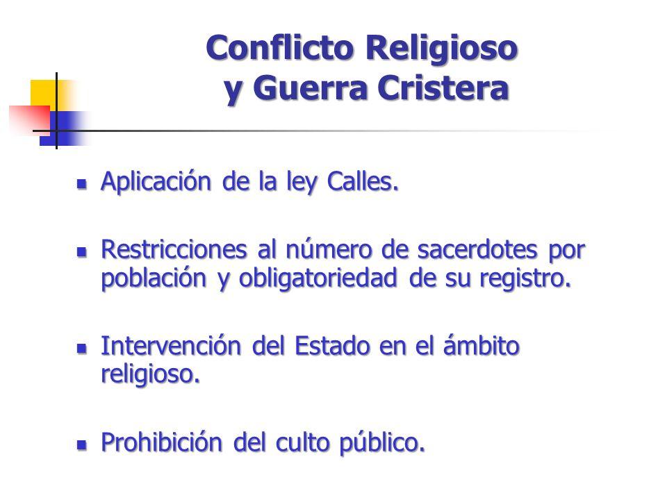 Conflicto Religioso y Guerra Cristera Aplicación de la ley Calles. Aplicación de la ley Calles. Restricciones al número de sacerdotes por población y