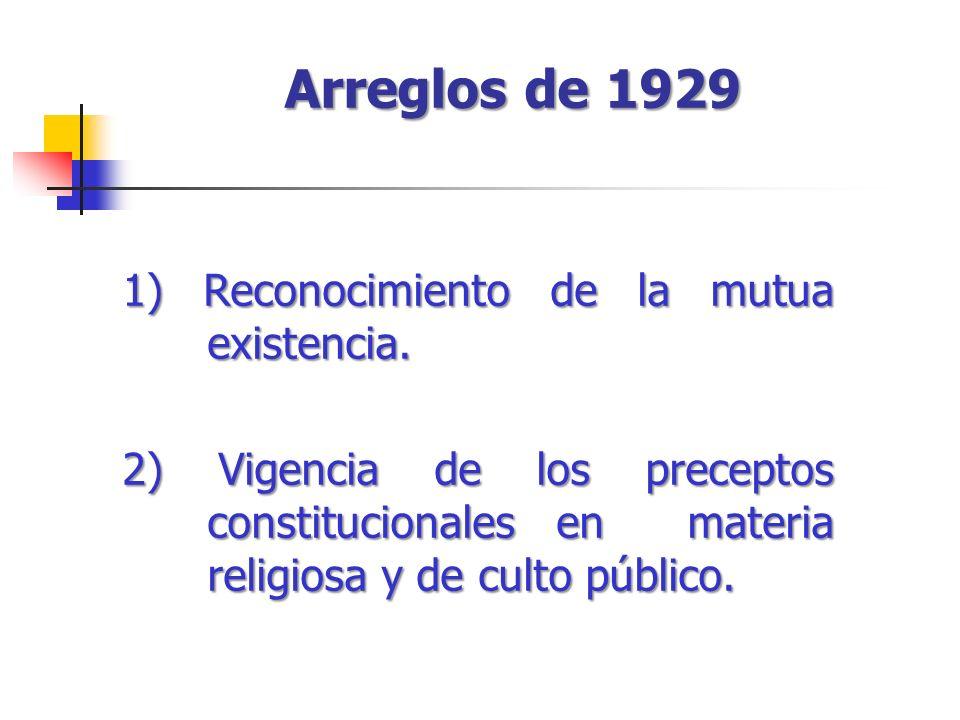 Arreglos de 1929 1) Reconocimiento de la mutua existencia. 2) Vigencia de los preceptos constitucionales en materia religiosa y de culto público.