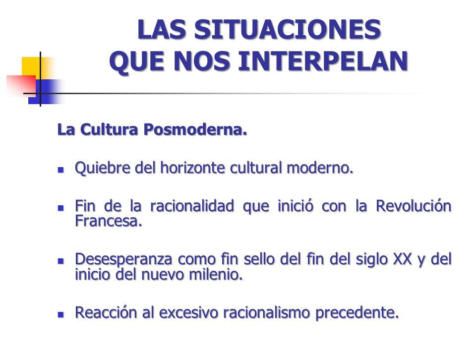 LAS SITUACIONES QUE NOS INTERPELAN La Cultura Posmoderna. Quiebre del horizonte cultural moderno. Quiebre del horizonte cultural moderno. Fin de la ra
