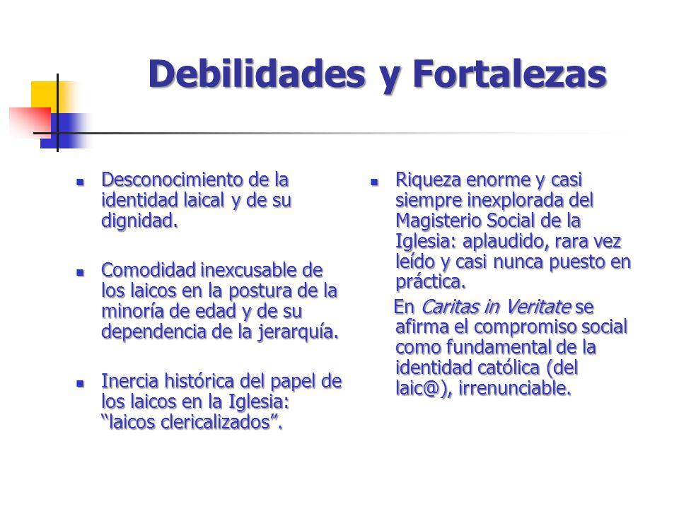 Debilidades y Fortalezas Desconocimiento de la identidad laical y de su dignidad.