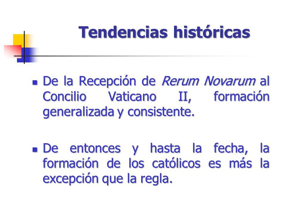 Tendencias históricas De la Recepción de Rerum Novarum al Concilio Vaticano II, formación generalizada y consistente. De la Recepción de Rerum Novarum