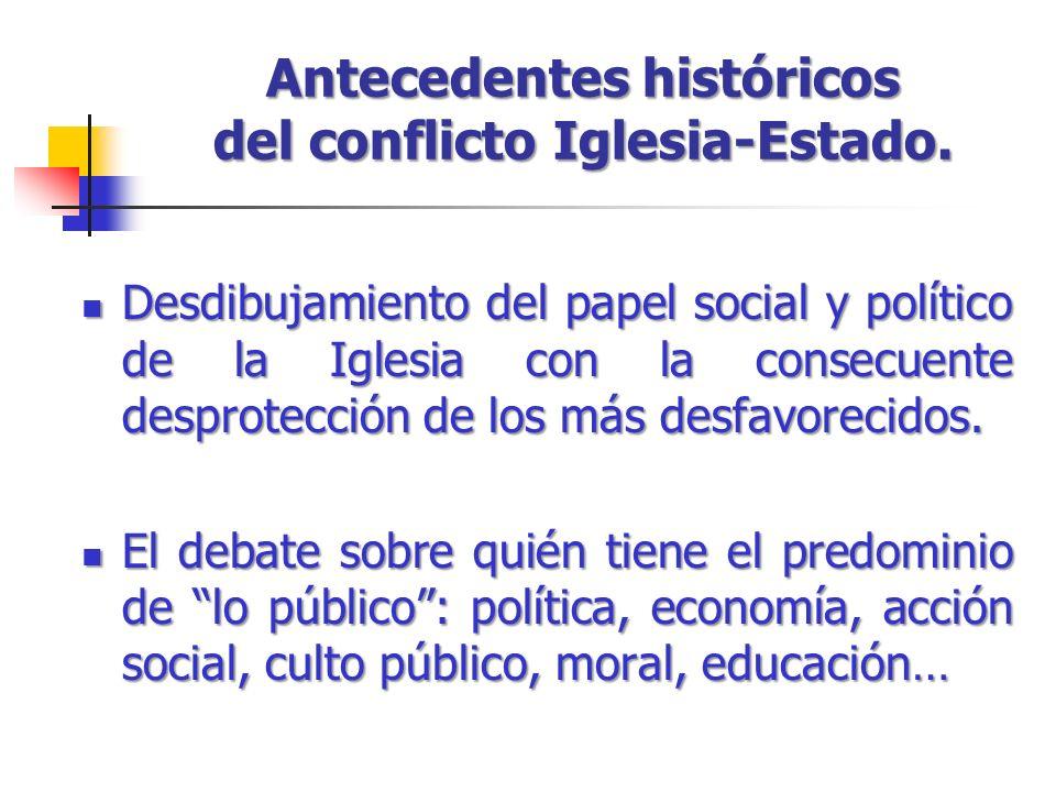 Antecedentes históricos del conflicto Iglesia-Estado.
