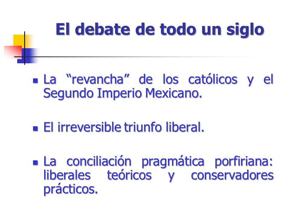 El debate de todo un siglo La revancha de los católicos y el Segundo Imperio Mexicano. La revancha de los católicos y el Segundo Imperio Mexicano. El