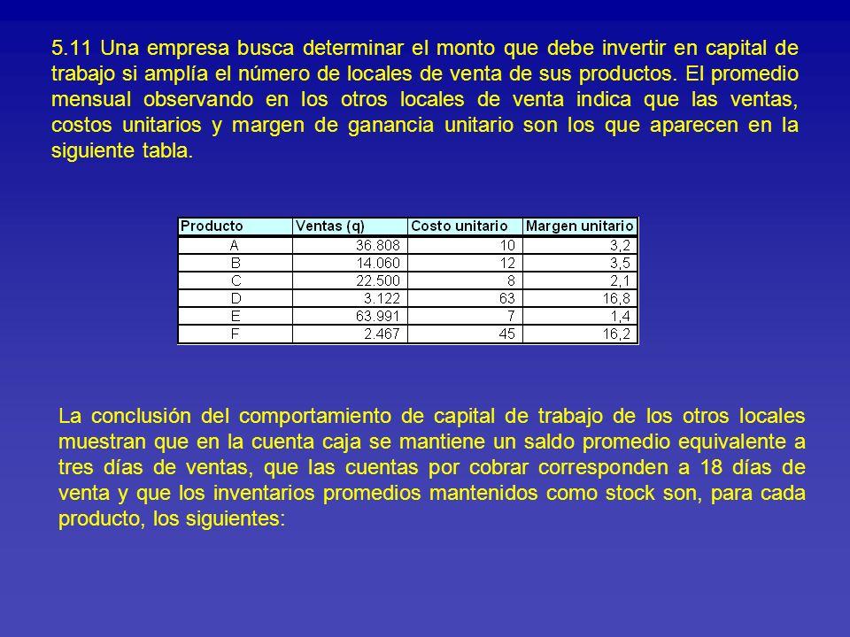 5.11 Una empresa busca determinar el monto que debe invertir en capital de trabajo si amplía el número de locales de venta de sus productos. El promed
