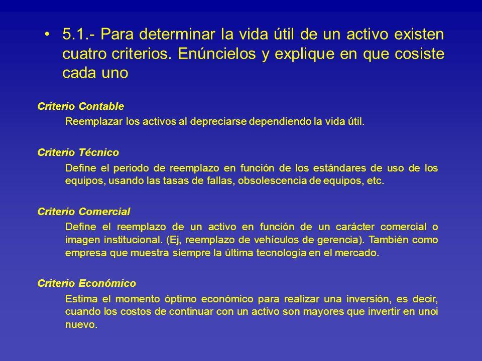 5.1.- Para determinar la vida útil de un activo existen cuatro criterios. Enúncielos y explique en que cosiste cada uno Criterio Contable Reemplazar l