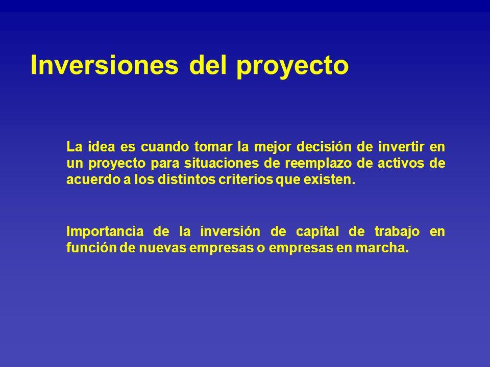 Inversiones del proyecto La idea es cuando tomar la mejor decisión de invertir en un proyecto para situaciones de reemplazo de activos de acuerdo a lo