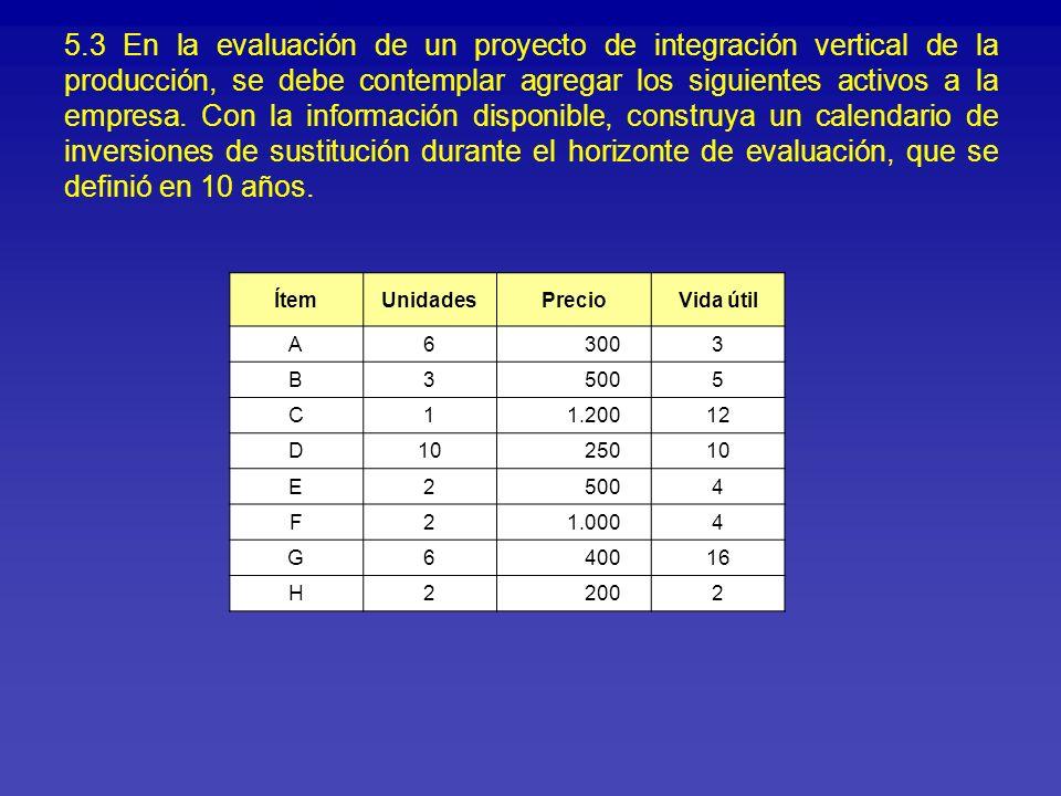 5.3 En la evaluación de un proyecto de integración vertical de la producción, se debe contemplar agregar los siguientes activos a la empresa. Con la i