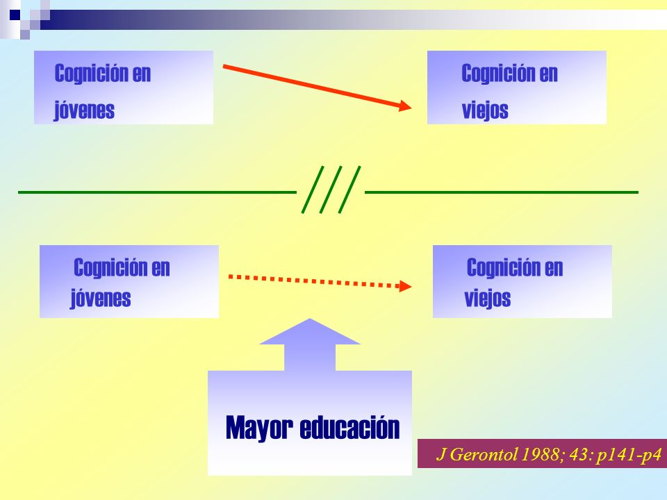 Cognición en jóvenes Cognición en viejos Cognición en jóvenes Cognición en viejos Mayor educación J Gerontol 1988; 43: p141-p4