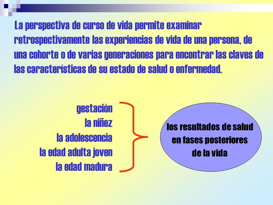 La perspectiva de curso de vida permite examinar retrospectivamente las experiencias de vida de una persona, de una cohorte o de varias generaciones p