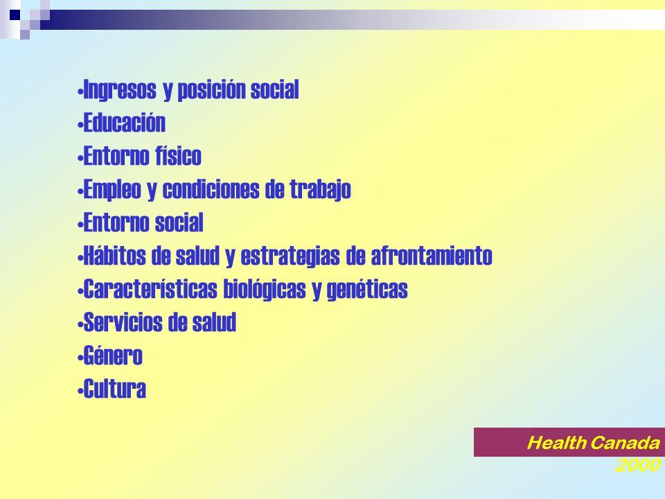 Ingresos y posición social Educación Entorno físico Empleo y condiciones de trabajo Entorno social Hábitos de salud y estrategias de afrontamiento Características biológicas y genéticas Servicios de salud Género Cultura Health Canada 2000
