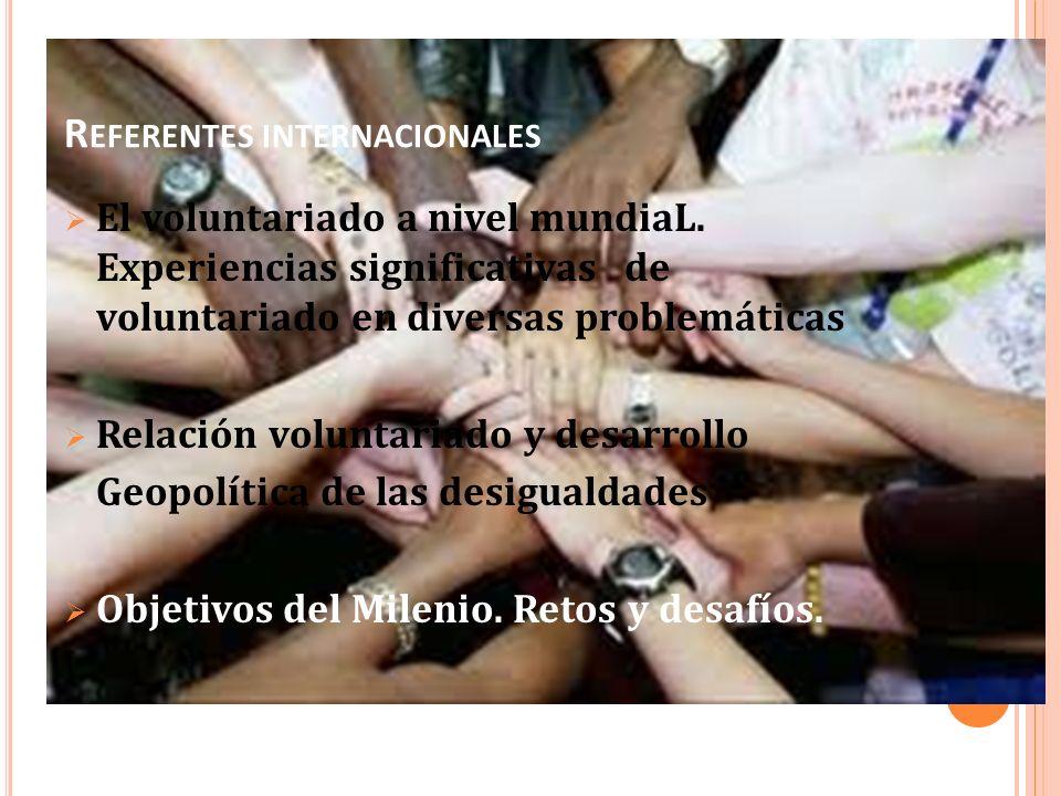 R EFERENTES INTERNACIONALES El voluntariado a nivel mundiaL. Experiencias significativas de voluntariado en diversas problemáticas Relación voluntaria