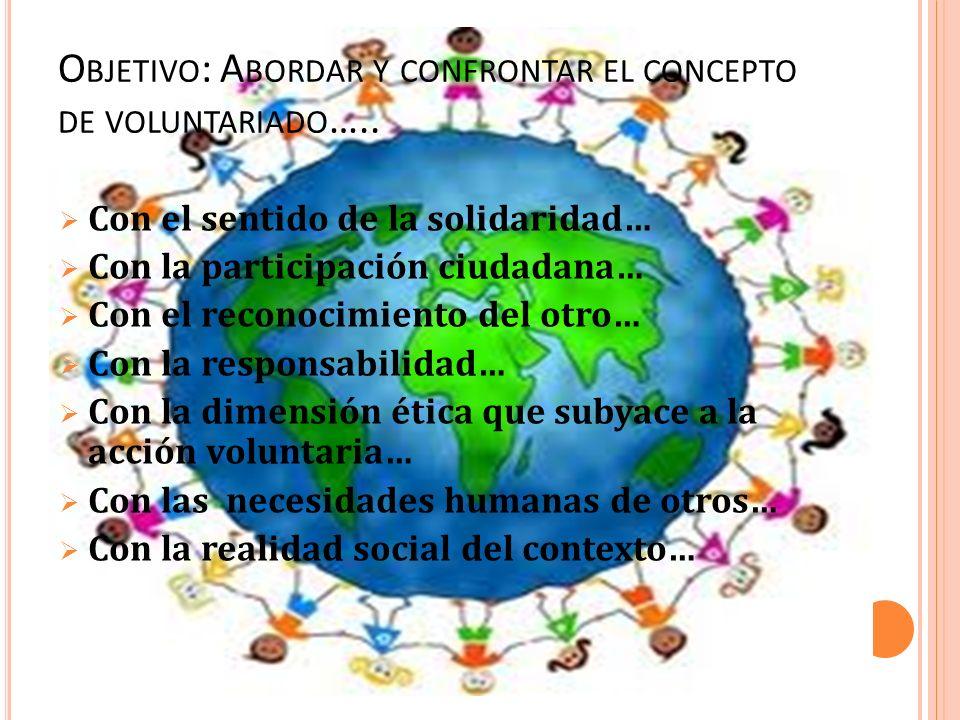 O BJETIVO : A BORDAR Y CONFRONTAR EL CONCEPTO DE VOLUNTARIADO ….. Con el sentido de la solidaridad… Con la participación ciudadana… Con el reconocimie