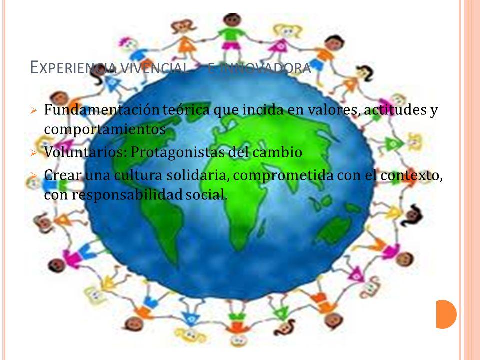 E XPERIENCIA VIVENCIAL E INNOVADORA Fundamentación teórica que incida en valores, actitudes y comportamientos Voluntarios: Protagonistas del cambio Crear una cultura solidaria, comprometida con el contexto, con responsabilidad social.