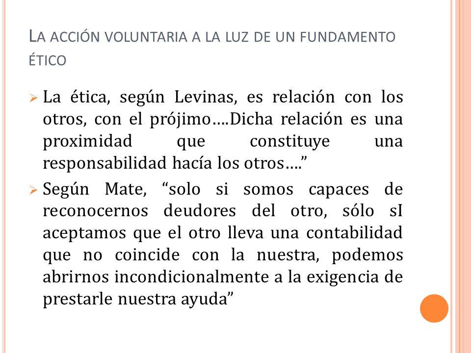 L A ACCIÓN VOLUNTARIA A LA LUZ DE UN FUNDAMENTO ÉTICO La ética, según Levinas, es relación con los otros, con el prójimo….Dicha relación es una proxim