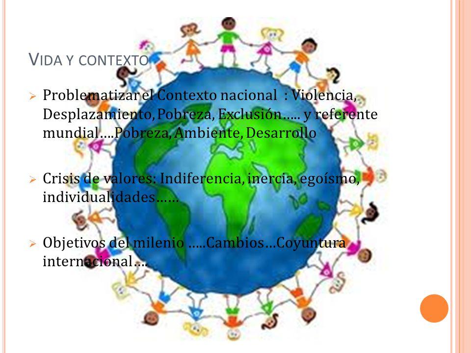 V IDA Y CONTEXTO Problematizar el Contexto nacional : Violencia, Desplazamiento, Pobreza, Exclusión….. y referente mundial….Pobreza, Ambiente, Desarro