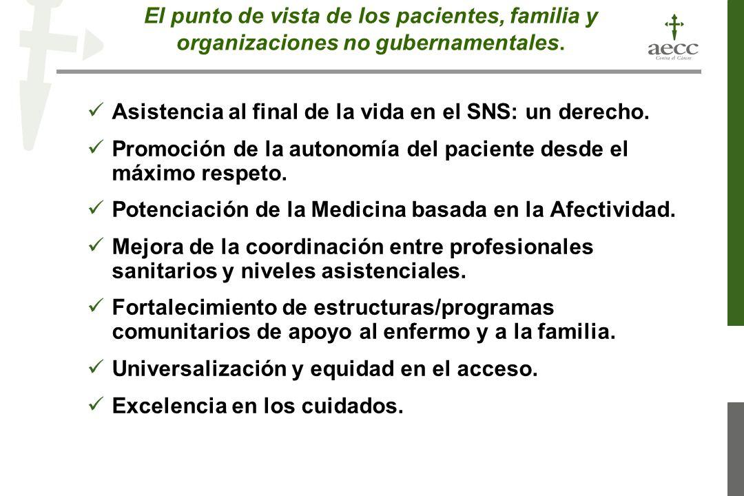 El punto de vista de los pacientes, familia y organizaciones no gubernamentales.
