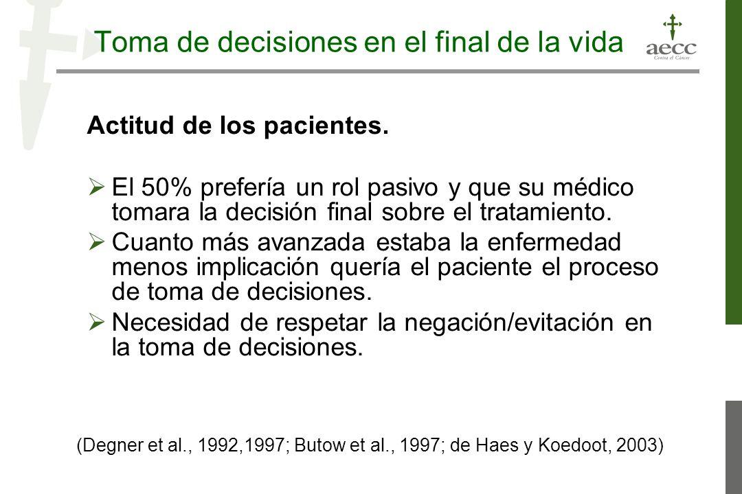 Toma de decisiones en el final de la vida Actitud de los pacientes. El 50% prefería un rol pasivo y que su médico tomara la decisión final sobre el tr
