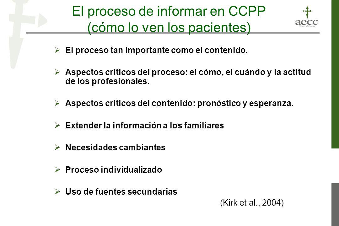 El proceso de informar en CCPP (cómo lo ven los pacientes) El proceso tan importante como el contenido.
