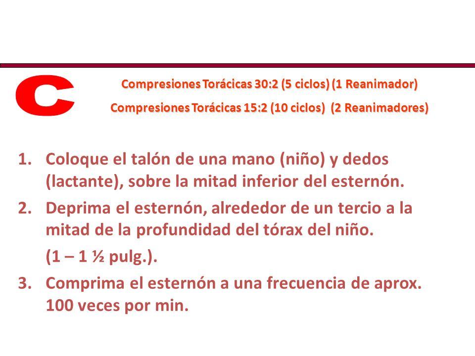 Compresiones Torácicas 30:2 (5 ciclos) (1 Reanimador) Compresiones Torácicas 15:2 (10 ciclos) (2 Reanimadores) 1.Coloque el talón de una mano (niño) y