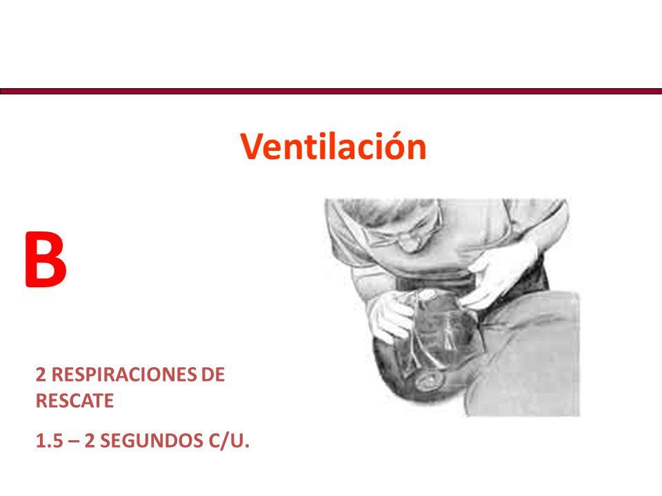 2 RESPIRACIONES DE RESCATE 1.5 – 2 SEGUNDOS C/U. B B Ventilación