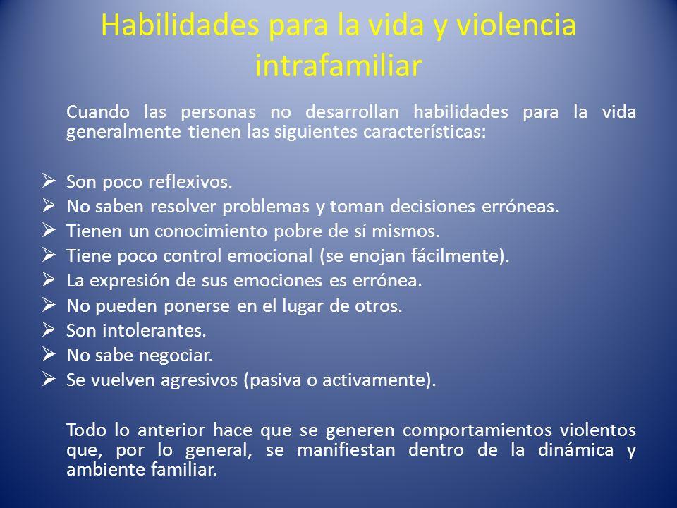 Habilidades para la vida y violencia intrafamiliar Cuando las personas no desarrollan habilidades para la vida generalmente tienen las siguientes cara