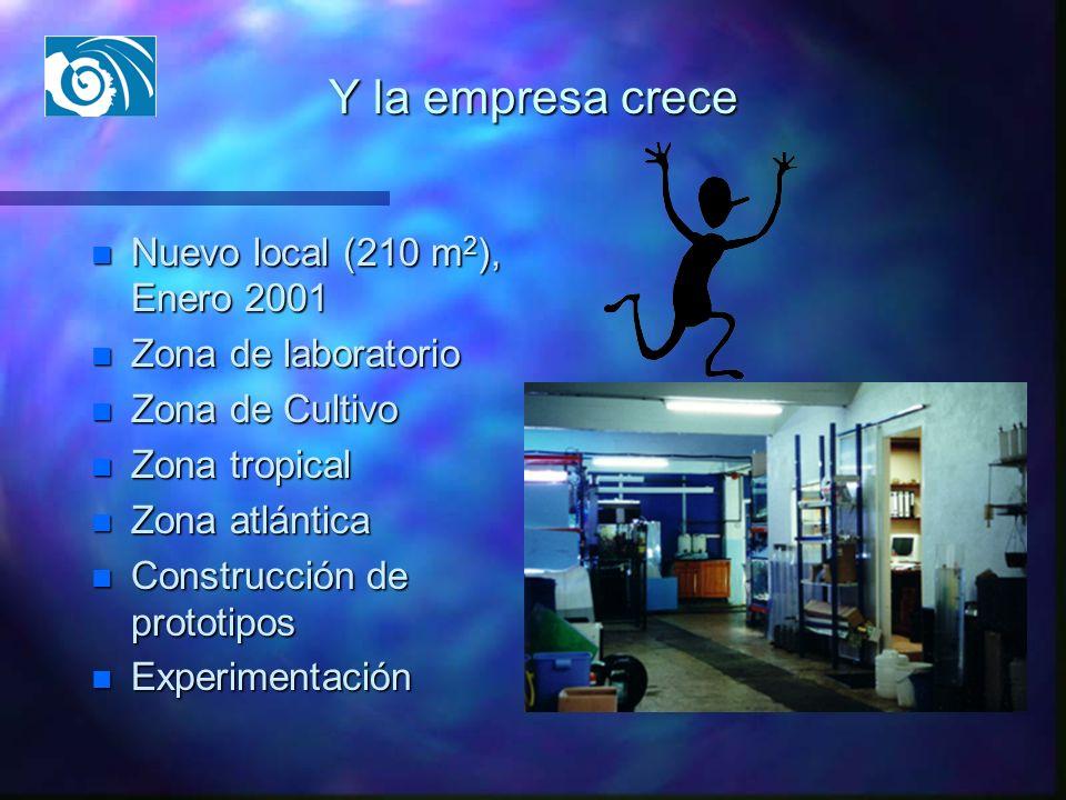 Y la empresa crece n Nuevo local (210 m 2 ), Enero 2001 n Zona de laboratorio n Zona de Cultivo n Zona tropical n Zona atlántica n Construcción de pro