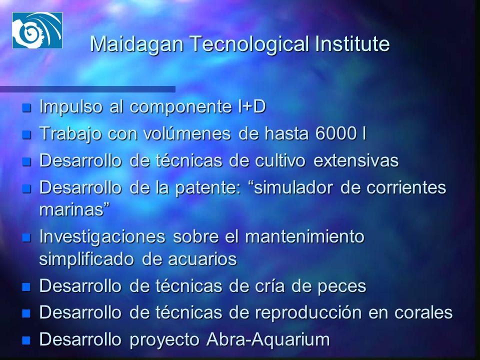 Maidagan Tecnological Institute n Impulso al componente I+D n Trabajo con volúmenes de hasta 6000 l n Desarrollo de técnicas de cultivo extensivas n D