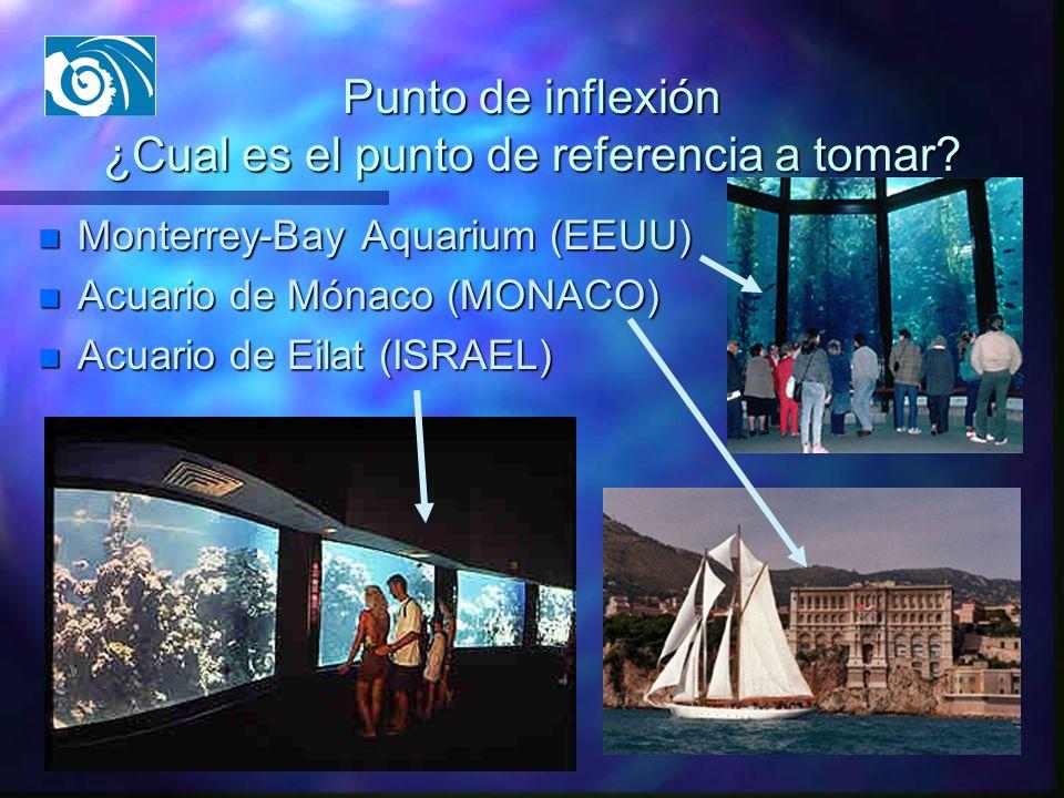 Punto de inflexión ¿Cual es el punto de referencia a tomar? n Monterrey-Bay Aquarium (EEUU) n Acuario de Mónaco (MONACO) n Acuario de Eilat (ISRAEL)