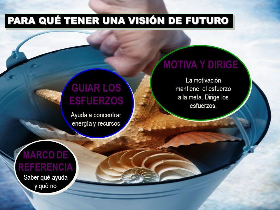 REPRESENTA FUTURO DESEABLE REPRESENTA FUTURO DESEABLE IMAGEN MENTAL VÍVIDA IMAGEN MENTAL VÍVIDA CAPACIDAD DE VER MÁS ALLÁ CAPACIDAD DE VER MÁS ALLÁ VE