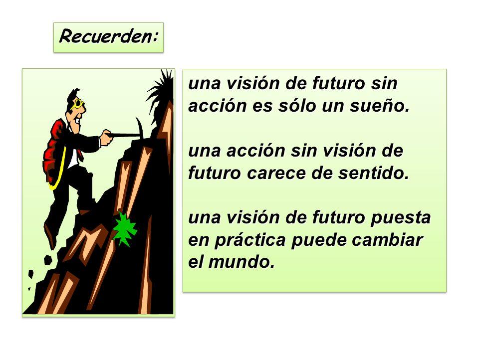 Recuerden:Recuerden: una visión de futuro sin acción es sólo un sueño.