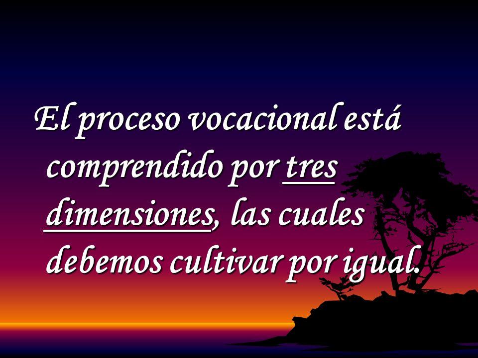 El proceso vocacional está comprendido por tres dimensiones, las cuales debemos cultivar por igual. El proceso vocacional está comprendido por tres di