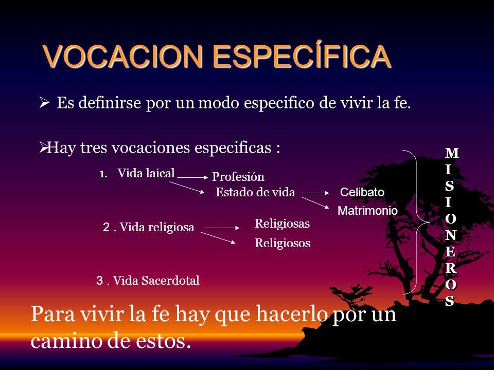 VOCACION ESPECÍFICA Es definirse por un modo especifico de vivir la fe. Hay tres vocaciones especificas : 1.Vida laical Profesión Estado de vida 2. Vi