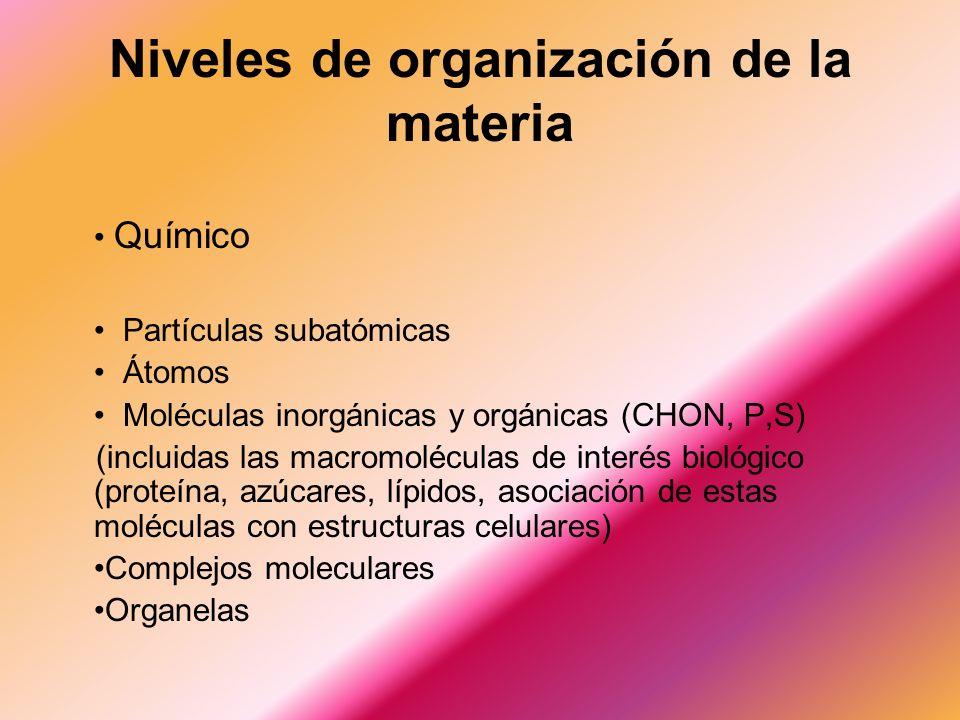 Niveles de organización de la materia Químico Partículas subatómicas Átomos Moléculas inorgánicas y orgánicas (CHON, P,S) (incluidas las macromoléculas de interés biológico (proteína, azúcares, lípidos, asociación de estas moléculas con estructuras celulares) Complejos moleculares Organelas