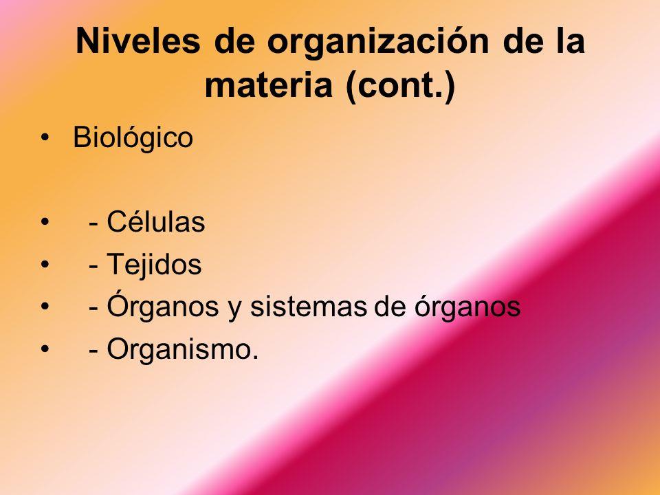 Biológico - Células - Tejidos - Órganos y sistemas de órganos - Organismo.