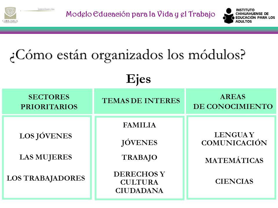 Modelo Educación para la Vida y el Trabajo ¿Cómo están organizados los módulos.
