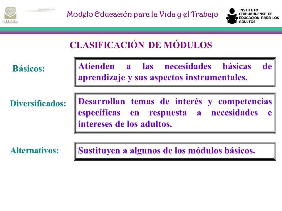 Modelo Educación para la Vida y el Trabajo CLASIFICACIÓN DE MÓDULOS Básicos: Atienden a las necesidades básicas de aprendizaje y sus aspectos instrumentales.