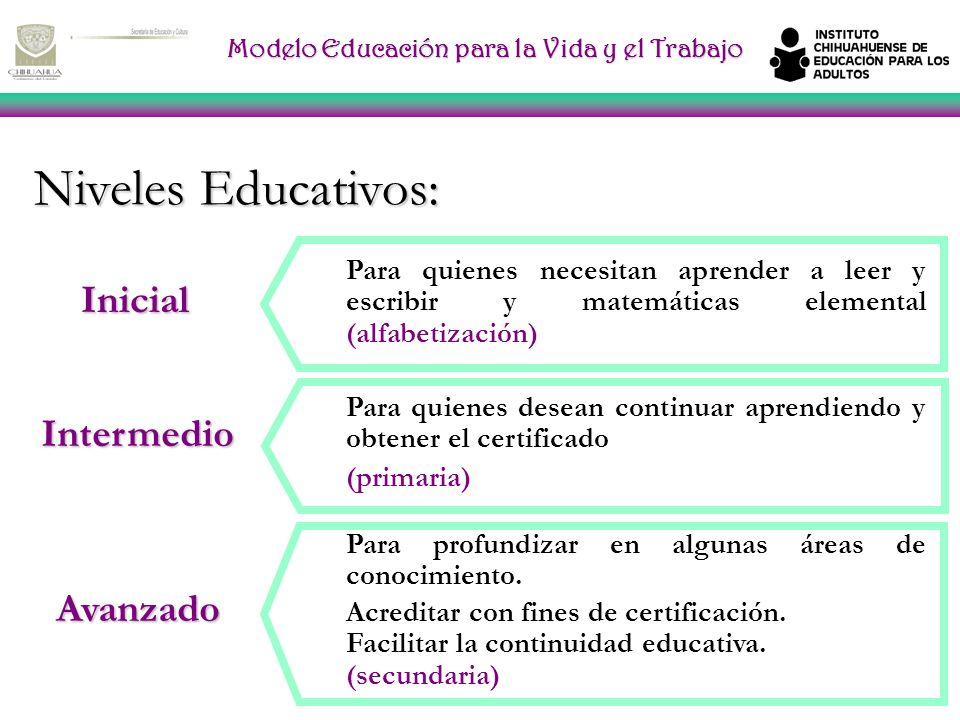 Modelo Educación para la Vida y el Trabajo Niveles Educativos: Para quienes necesitan aprender a leer y escribir y matemáticas elemental (alfabetización) Intermedio Avanzado Para quienes desean continuar aprendiendo y obtener el certificado (primaria) Para profundizar en algunas áreas de conocimiento.