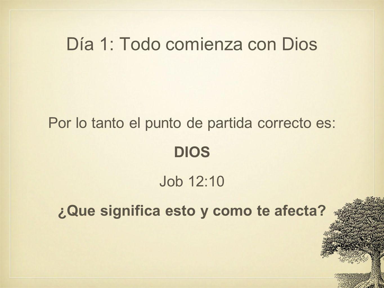 Día 1: Todo comienza con Dios Por lo tanto el punto de partida correcto es: DIOS Job 12:10 ¿Que significa esto y como te afecta?