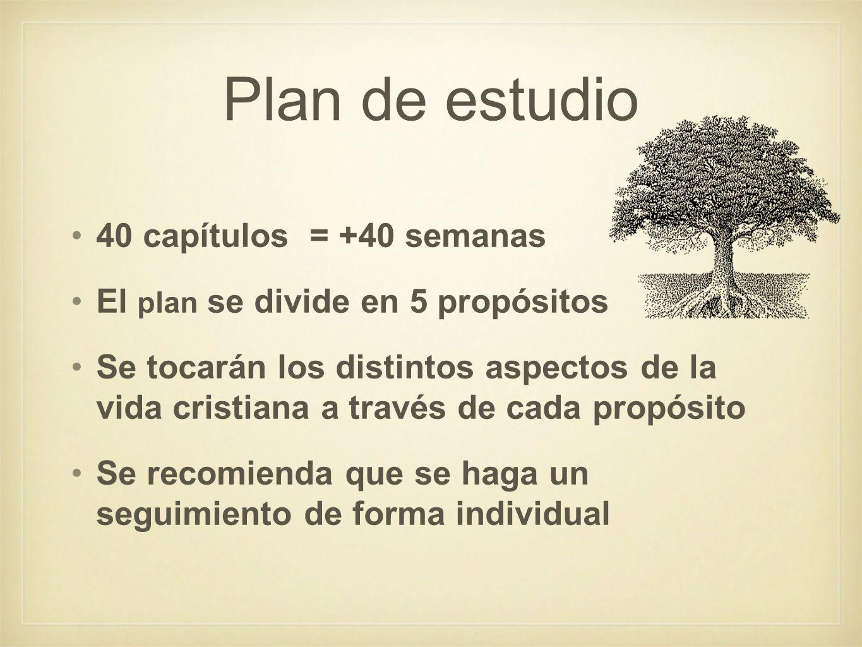 Plan de estudio 40 capítulos = +40 semanas El plan se divide en 5 propósitos Se tocarán los distintos aspectos de la vida cristiana a través de cada p
