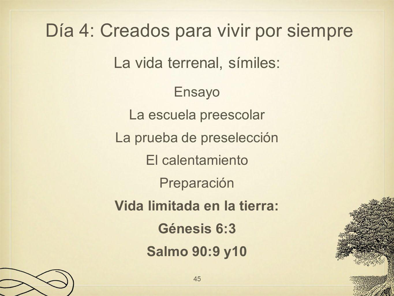 La vida terrenal, símiles: Ensayo La escuela preescolar La prueba de preselección El calentamiento Preparación Vida limitada en la tierra: Génesis 6:3