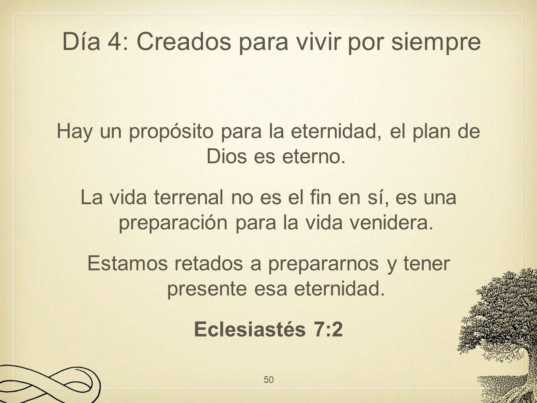 Hay un propósito para la eternidad, el plan de Dios es eterno. La vida terrenal no es el fin en sí, es una preparación para la vida venidera. Estamos
