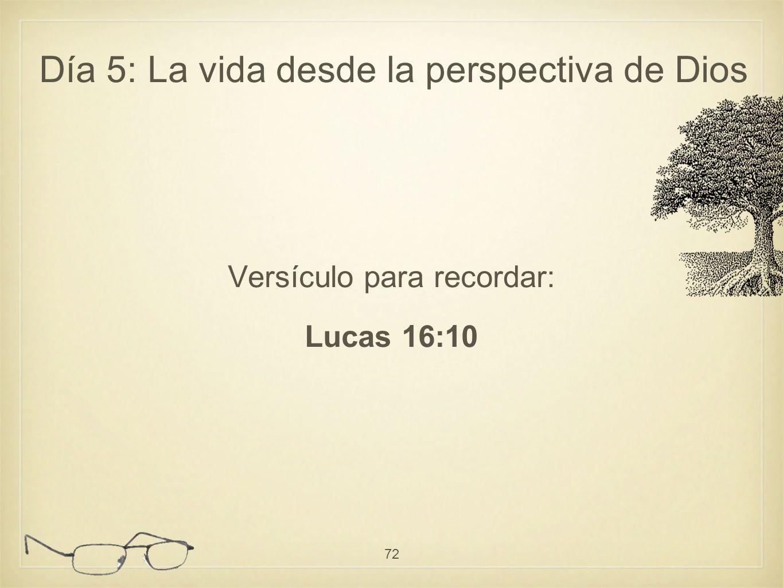 Versículo para recordar: Lucas 16:10 72 Día 5: La vida desde la perspectiva de Dios
