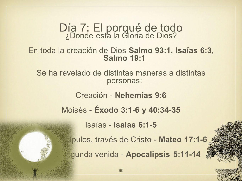 Día 7: El porqué de todo ¿Donde esta la Gloria de Dios? En toda la creación de Dios Salmo 93:1, Isaías 6:3, Salmo 19:1 Se ha revelado de distintas man