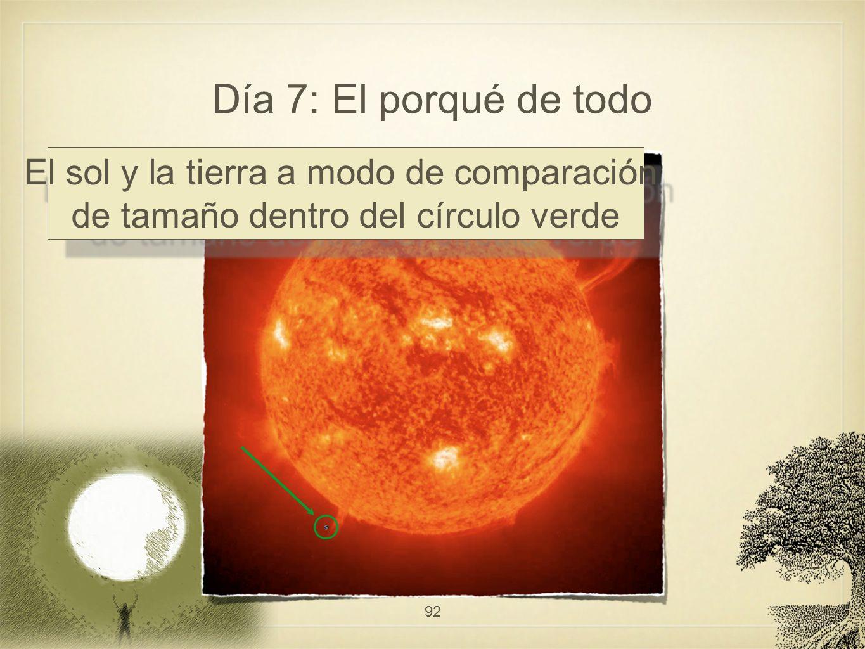 Día 7: El porqué de todo 92 El sol y la tierra a modo de comparación de tamaño dentro del círculo verde