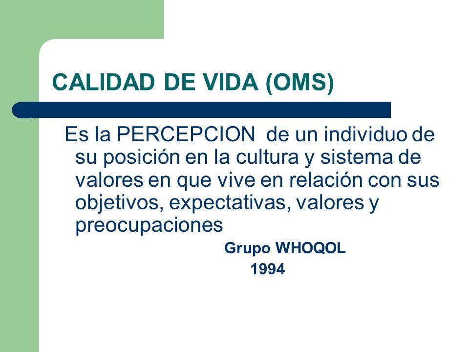 CALIDAD DE VIDA (OMS) Es la PERCEPCION de un individuo de su posición en la cultura y sistema de valores en que vive en relación con sus objetivos, ex