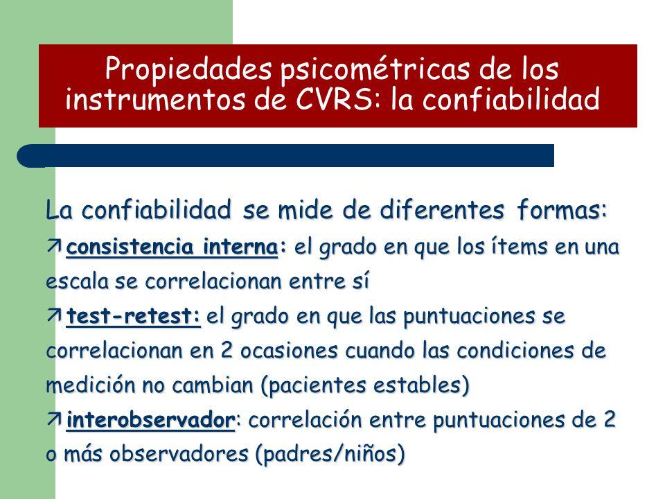 La confiabilidad se mide de diferentes formas: ä consistencia interna: el grado en que los ítems en una escala se correlacionan entre sí ä test-retest